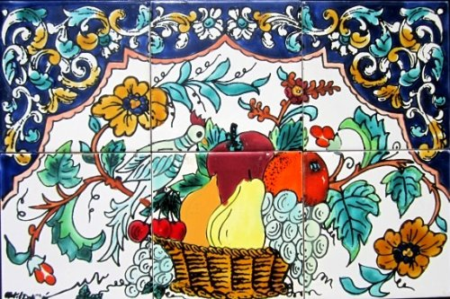 (Decorative Ceramic Tiles: Hand Painted Mosaic Mural Home Kitchen Bath Backsplah Swimming Pool Patio Countertops Wall Décor 18 Inch x 12 Inch -)