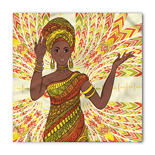 African Woman Bandana by Ambesonne, Dancing Woman Hand Drawing Ethnic Geometric Ornament Colorful Print, Printed Unisex Bandana Head and Neck Tie Scarf Headband, 22 X 22 Inches, Green Red Yellow