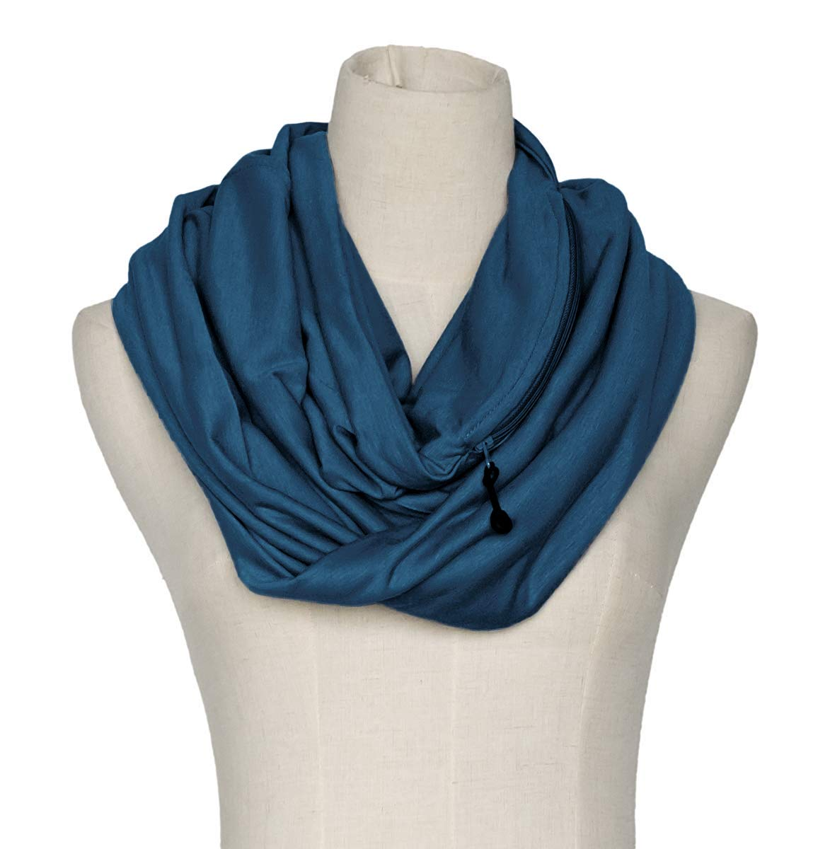 Women' s Solid Infinity Travel Scarf With Secret Zipper Pockets (Navy Blue) BGWBKD72NB
