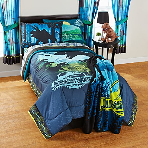 3 Piece Kids Blue Jurassic World Sheet Set Twin, Yellow Dinosaur Print Bedding Animal Printed Jurassic Park Bed Sheets T Rex Movie Character Adventure Themed Movie Print Green Black Durable, Polyester by A&L