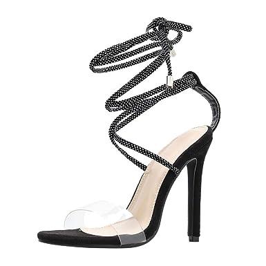 c9b380ab6bc Amazon.com: Womens Knee High Gladiator Sandals - Ladies High Heels ...