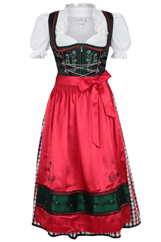 Damen Spieth & Wensky Dirndl Mittel rot-grün-schwarz 'Tracy', schwarz-rot,
