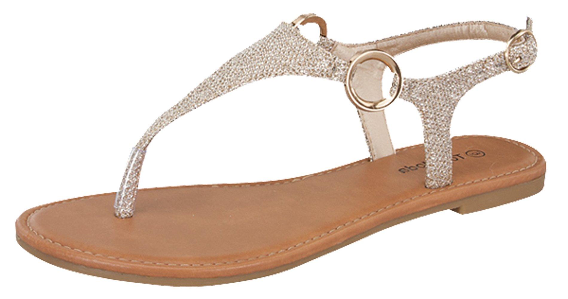 Top Moda Break-10 Womens T-Strap Buckle Flats Sandals, Champagne 6.5