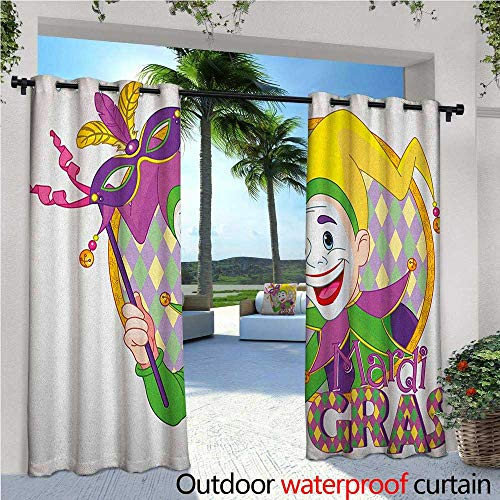 familytaste Mardi Gras Exterior/Outside Curtains Cartoon Design of Mardi Gras Jester Smiling and Holding a Mask Harlequin Figure for Patio Light Block Heat Out Water Proof Drape W72 x L84 Multicolor