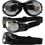 Birdz Eagle Padded Motorcycle Airsoft Goggles Gloss Black Frames with Anti-Fog Driving Clear Mirror Lens