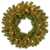 National Tree 24 Inch Feel Real Downswept Douglas Fir Wreath with 50 Warm White LED Lights (PEDD8-312L-24W)