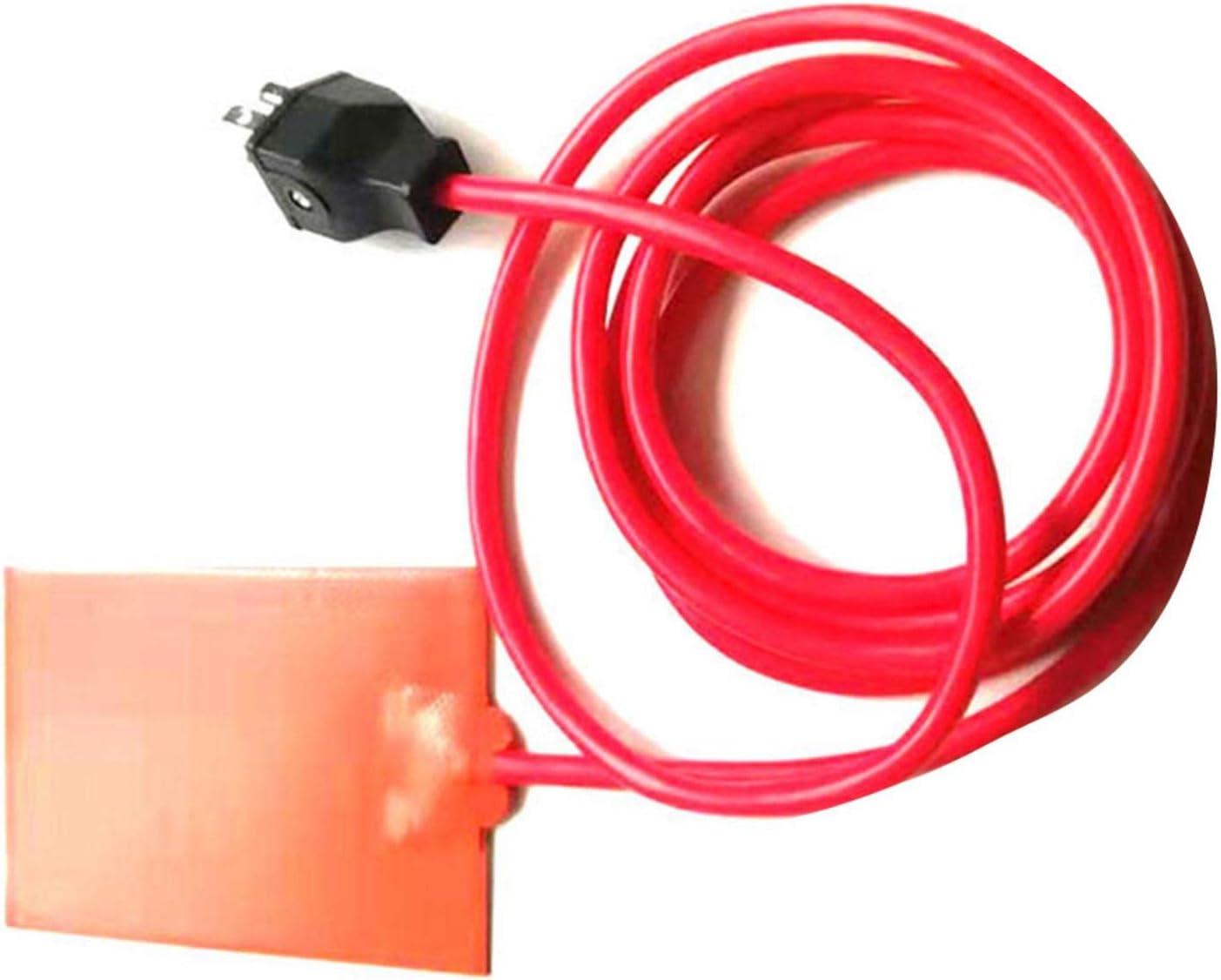 Bitcircuit Silicone Heater Pad, Car Engine Block Hydraulic Tank Heating Plate Oil Pan Sump Tank Oil Heater Pad with Plug