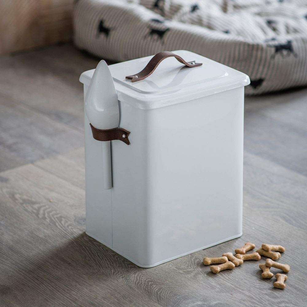 Garden Trading Pet Bin Food Storage Container Caddy with Scoop and Leather Handles Crafted in Steel, Medium