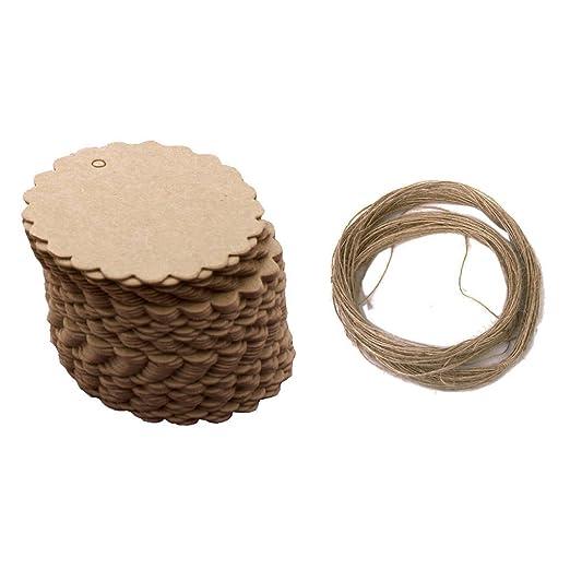 deanyi 50/pcs con forma de Flor de papel etiquetas Multi uso papel Kraft colgada etiquetas pr/ácticos Flower Tag String papeler/ía y Productos para oficina