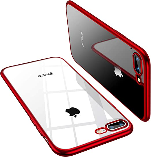 Amazon Com Torras Crystal Clear Compatible For Iphone 8 Plus Case Iphone 7 Plus Case 5 5 Inch Transparent 10x Non Yellowing Shockproof Rubber Slim Thin Faith Series Soft Phone Cover Case Red