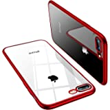 TORRAS Crystal Clear iPhone 8 Plus Case/iPhone 7 Plus Case, [10X Anti-Yellowing] Soft Silicone Shockproof Slim Thin Rubber Cover Cases for iPhone 8 Plus/iPhone 7 Plus, Red