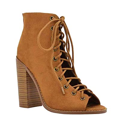 Women's Open Toe Lace Up Ankle Booties Back Zipper Block Chunky Heel Shoe Boots | Ankle & Bootie
