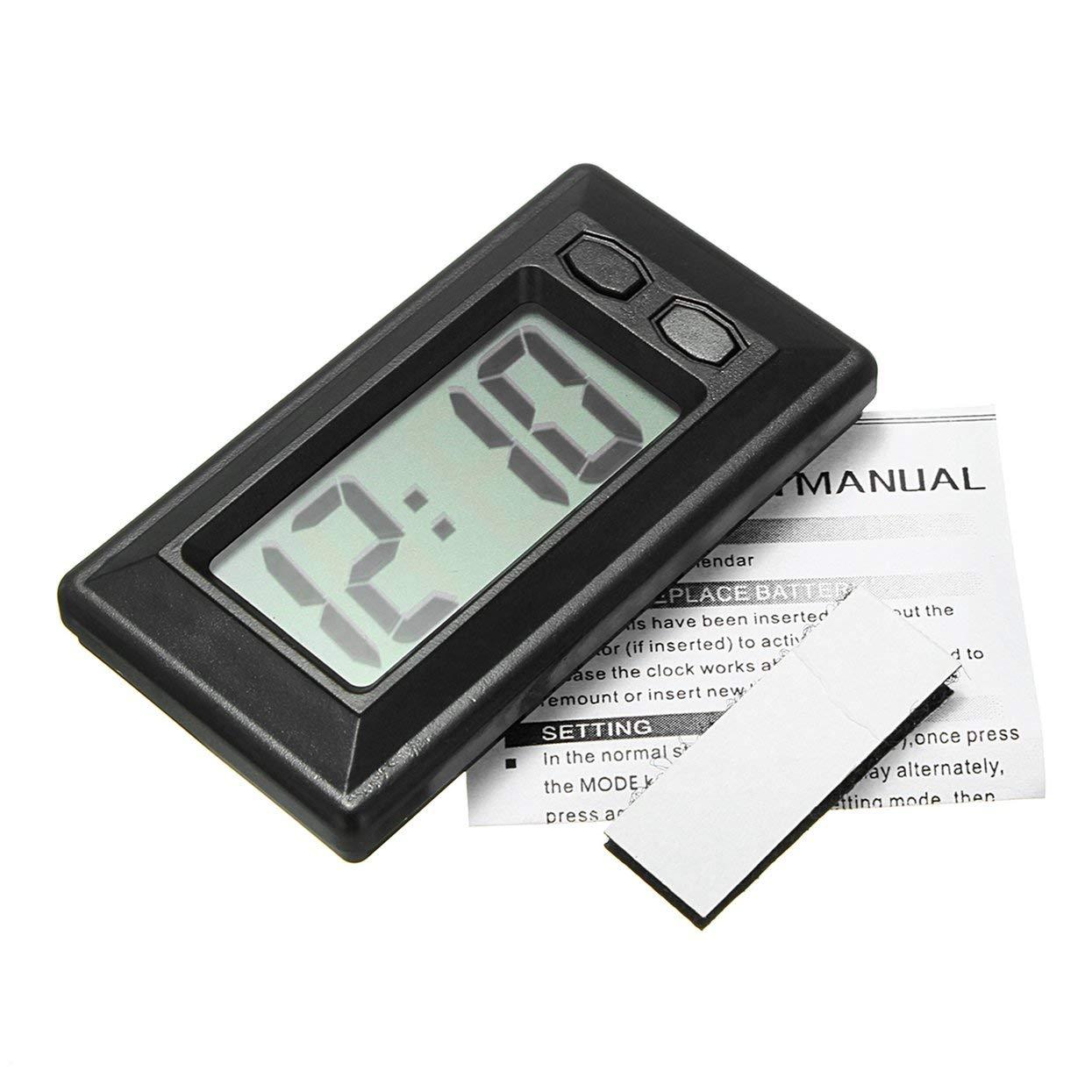 Auto-Armaturenbrett-Uhr, ultradü nn, LCD-Digitalanzeige, Auto-Digitaluhr, Armaturenbrett-Uhr mit Kalenderanzeige, tragbares Mini-Zubehö r LoveOlvido