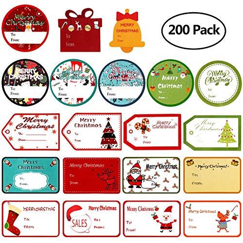 MerLerner 200 Pack Tags Sticker Christmas Gifts Labels Name Tags Xmas Gifts Santa Holiday Present Labels Self Adhesive (20 Designs,10 Sheets)