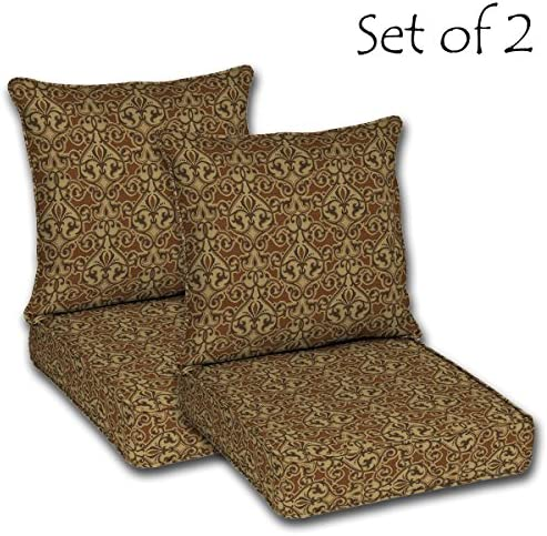 Comfort Classics Inc. Set of 2 Outdoor Deep Seat Double Welt Cushions. Seat 24 Lx24 Wx5.75 H Pillow Back with Welt 22.5 Lx25 Wx6.5 H. Polyester Fabric Cayenne Scroll