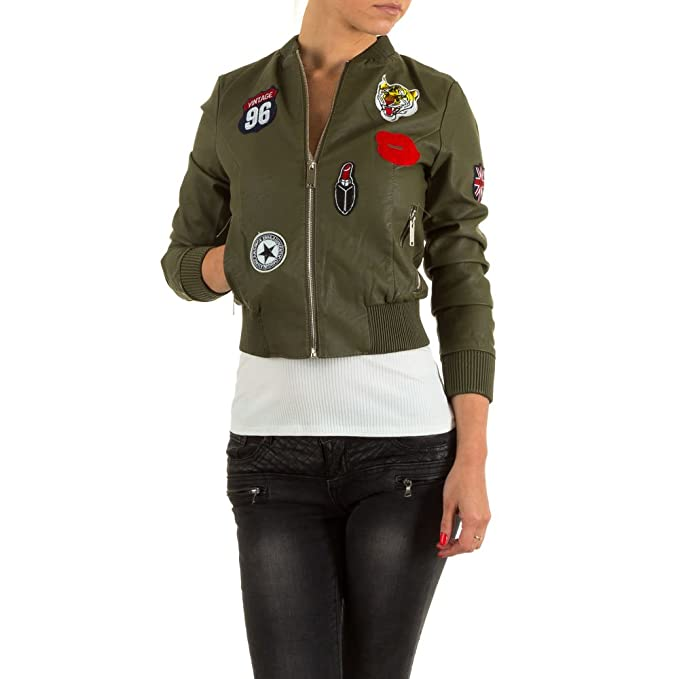 huge discount 1e332 f8a4b Damen Jacke, LEDEROPTIK APPLIKATIONEN BOMBER JACKE, KL ...