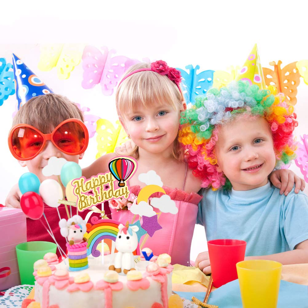 luna bodas baby shower nubes estrella decoraci/ón para tarta de cumplea/ños con globos de arco/íris Decoraci/ón para tarta con dise/ño de unicornio Joyoldelf ideal para fiestas de ni/ños