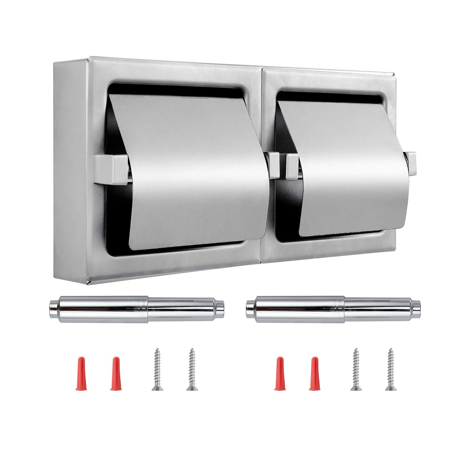 Dependable Direct Pack of 9 - Horizontal Two Roll Hooded Toilet Paper Holder - Stainless Steel - Satin Finish - Surface Mount