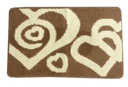 Set tappeti bagno antiscivolo 3pz fantasia cuori fiori doppio cuore