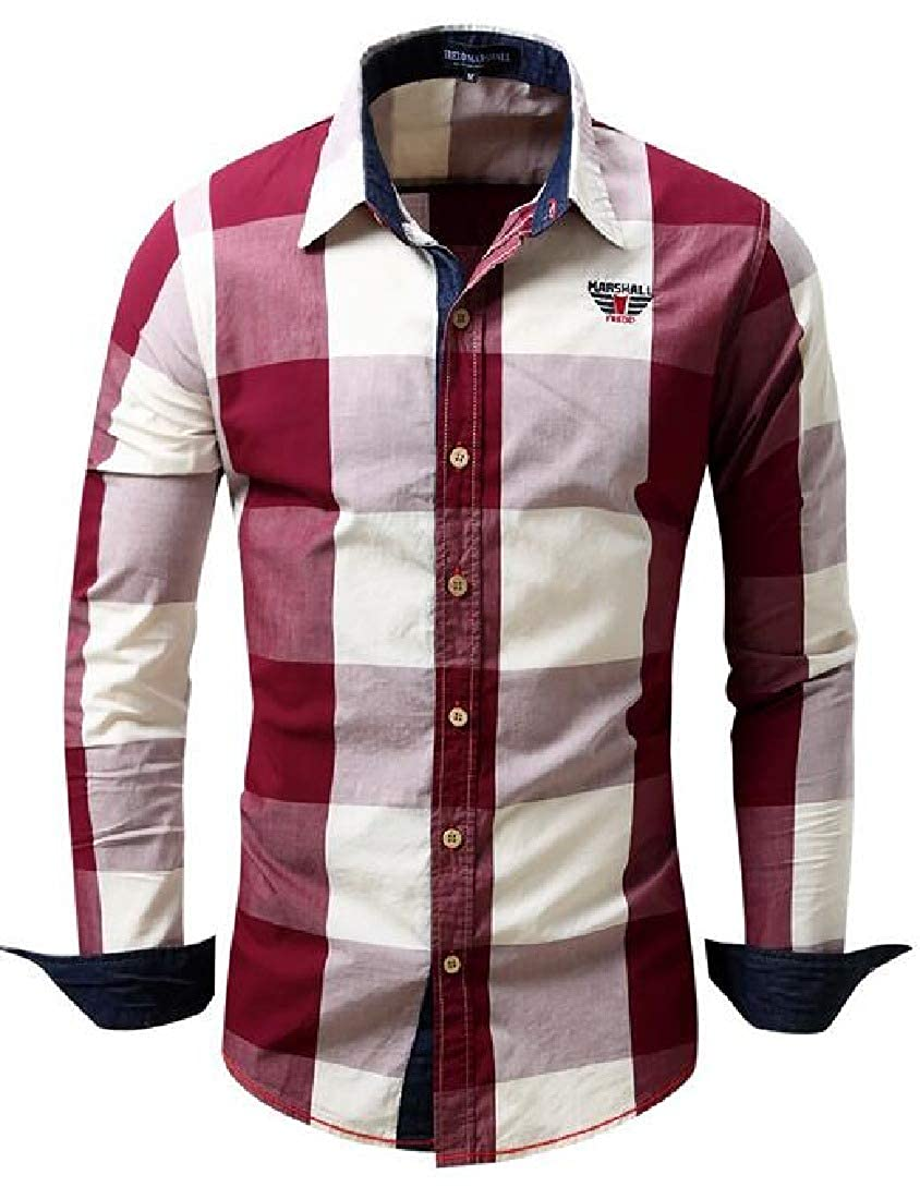 UUYUK Men Long Sleeve Color Block Plaid Button Up Slim Casual Shirts