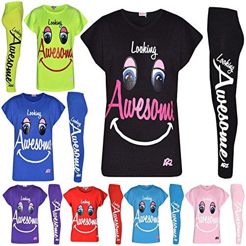 Kids Girls Tops Designers Looking Awesome Print T Shirt & Legging Set 5-13 Year