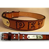 Western Leather Dog Collar with Name Plate 1 Inch Wide