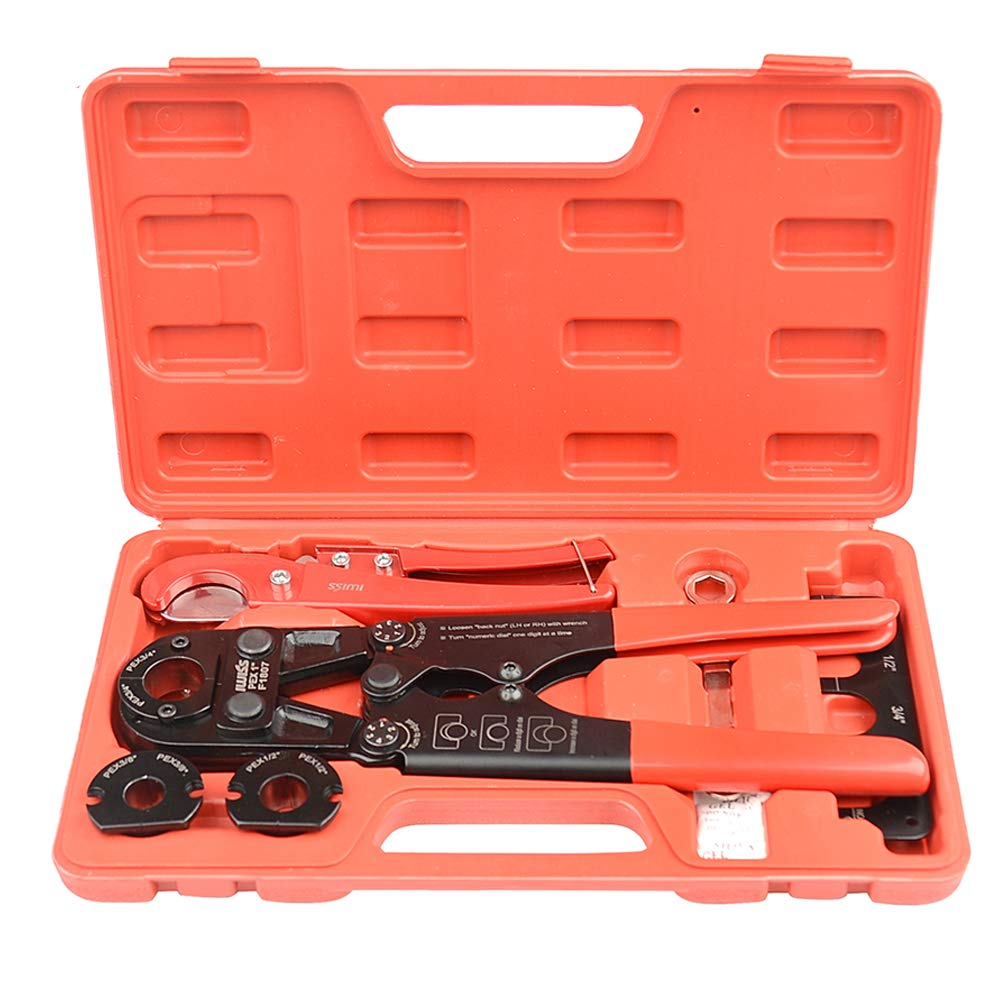 "IWISS PEX Pipe Crimping Tool Kit with Jaw Sets 3/8"",1/2"",3/4"",1"" with PEX Pipe Cutters Suitable for All US F1807 Standards Plumbing"