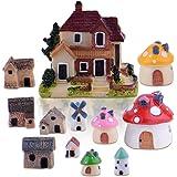 Zealor 12 Pieces Miniature Fairy Garden House and Terrarium Mushroom Fairy House Statue