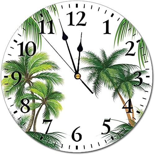Yeeboo Tropical 3D Print Round Wall Clock,Coconut Palm Tree Nature Paradise Plants Foliage Leaves Digital Illustration 10 Inch Battery Operated Quartz Analog Quiet Desk Clock,Hunter Green