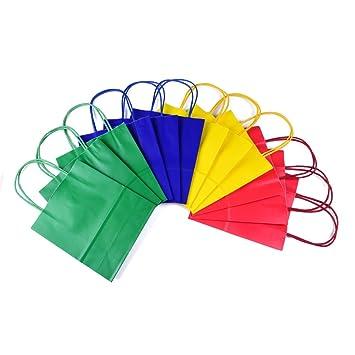 24 bolsas de regalo con asa, de papel de estraza en 4 colores diferentes, en un conjunto: Amazon.es: Oficina y papelería