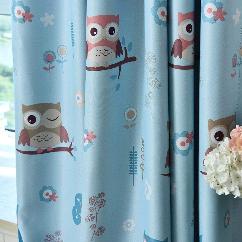 MYRU Owl Curtains for Girls Bedroom Boy Curtains for Nursery Kindergarten Childrens Bedroom,Set of 2 Blue,2 x 46x54 Inch