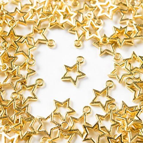 穴あき 星型チャーム ゴールド 10個 ピアス イヤリング パーツ ハンドメイド 材料