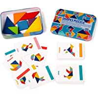 LiKee Wooden Tangram Puzzle and Stacking Games Montessori Toys