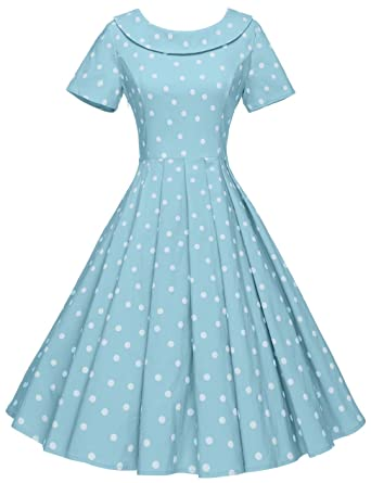 GownTown Women s 1950s Polka Dot Vintage Dresses Audrey Hepburn Style Party Dresses  Light Blue 380916b7f