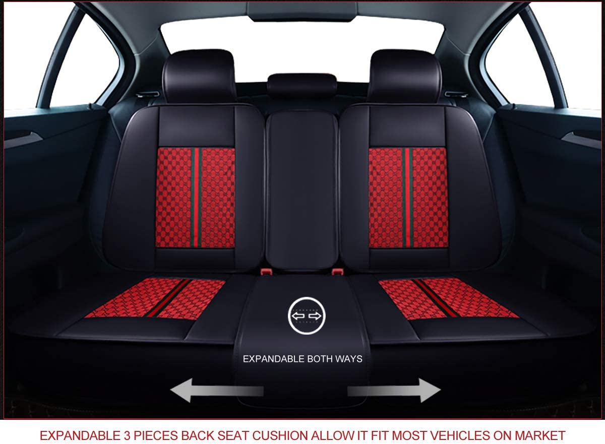 OASIS AUTO OS-007 Leather Car Seat Covers Faux Leatherette Automotive Vehicle Cushion Cover for Cars SUV Pick-up Truck Universal Fit Set for Auto Interior Accessories Front, Grey