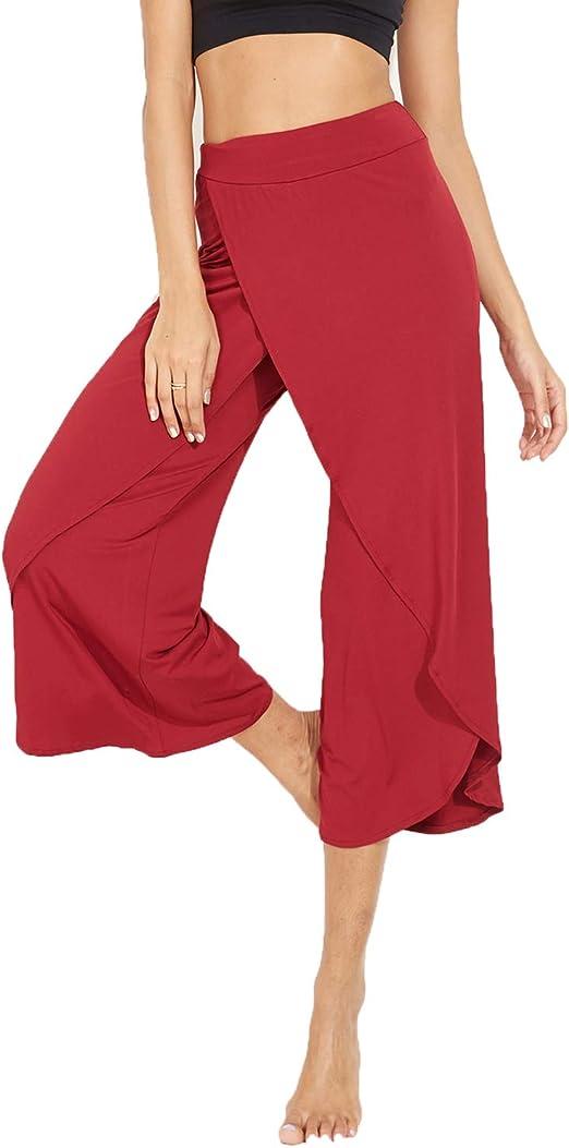 RIOJOY High Split Yoga Pants for Women,Ladies Wide Leg Flare Cropped Palazzo Dress Pants Fitness Ruffle Loose Trousers