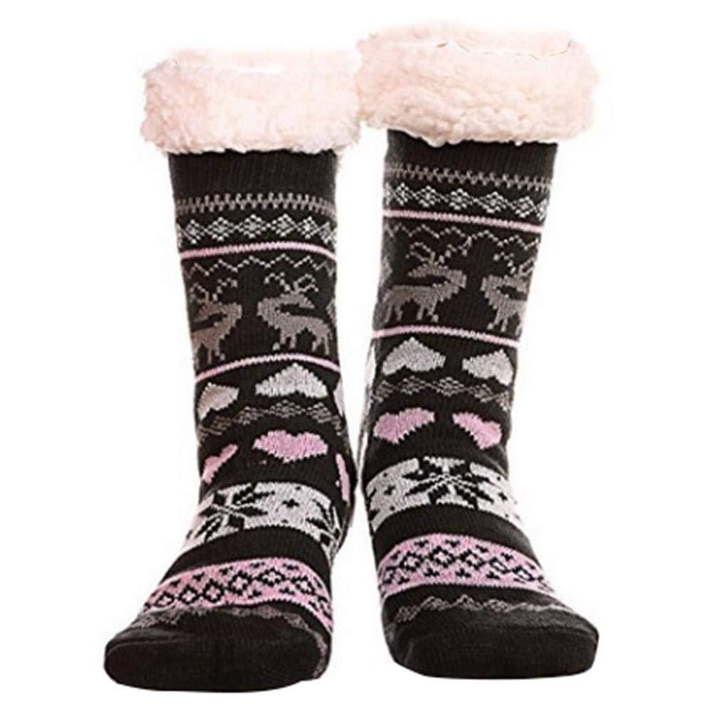 SOWLFE Donna Fuzzy Pantofola Calzini Caldi Spessi Spesso Foderato in Pile soffice Natale Calze Highs Calze Invernali A