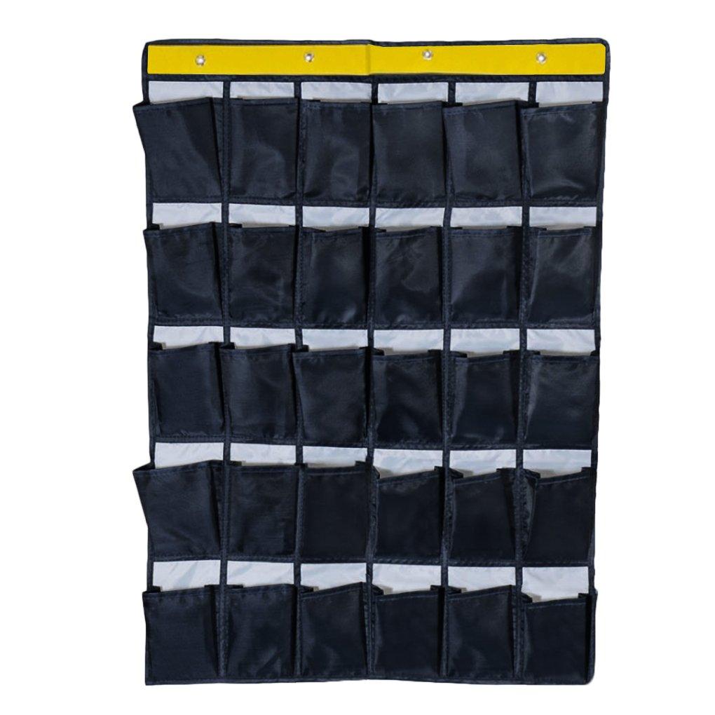 30ポケットHanging Toiletry Bag Over The Door Wall Hangingストレージバッグワードローブクローゼットシェルフラックホルダー靴下着ソックスオーガナイザー  ダークブルー B079ZR4H76
