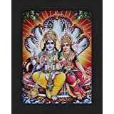 Avercart Lord Vishnu / Shree Vishnu / God Vishnu / Narayana Hari with Laxmiji / Goddess Lakshmi / Vishnu and Laxmi Poster 13x18 cm with Photo Frame (5x7 inch framed)