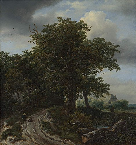 'Jacob Van Ruisdael A Road Winding Between Trees Towards A Distant Cottage ' Oil Painting, 12 X 13 Inch / 30 X 32 Cm ,printed On Polyster Canvas ,this High Resolution Art Decorative Canvas Prints Is Perfectly Suitalbe For Kids Room Artwork And Home Decor And Gifts