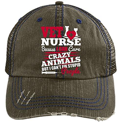 Being A Vet Nurse Hat, I Can Cure Crazy Animals Trucker Cap (Trucker Cap - Brow)
