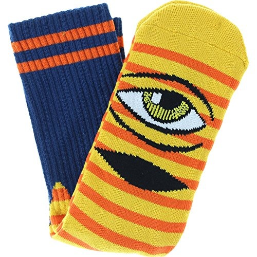 Toy Machine Sect Eye (Toy Machine Sect Eye Stripe Crew Socks-Yellow/Navy/Org)
