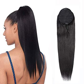 Amazon Com Ponytail Extension Human Hair Afro Straight Ponytail For Black Women Human Hair Brazilian Virgin Human Hair Drawstring Ponytail Remy Hair Extensions 16 Inches 105g Beauty