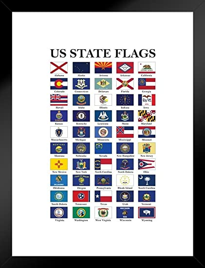 Amazon.com: Poster Foundry Flags US States Flags White Matted Framed ...