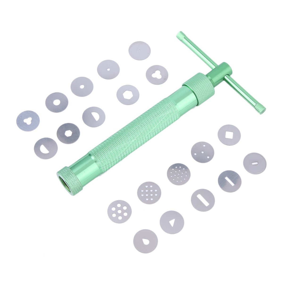 Detectoy Green Stainless Steel Clay Extruder Tool with 20 Tips Sugar Paste Extruder Cake Decor Tools 20 x Discs of Different Patterns