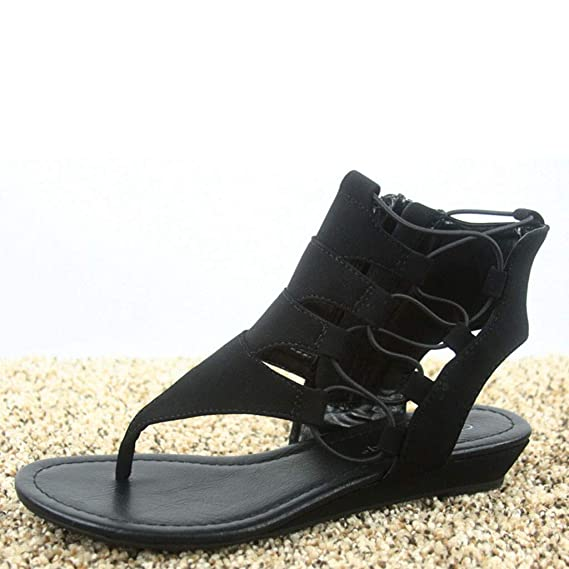 6546f766eae38 Amazon.com: Women's Open Toe Sandals Criss Cross Ankle Zip High Top ...