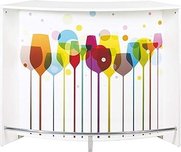 SIMMOB snack134bl941 Bar Comptoir Panel/Madera melamina Color Blanco 55,3 x 134,5 x 104,8 cm: Amazon.es: Hogar