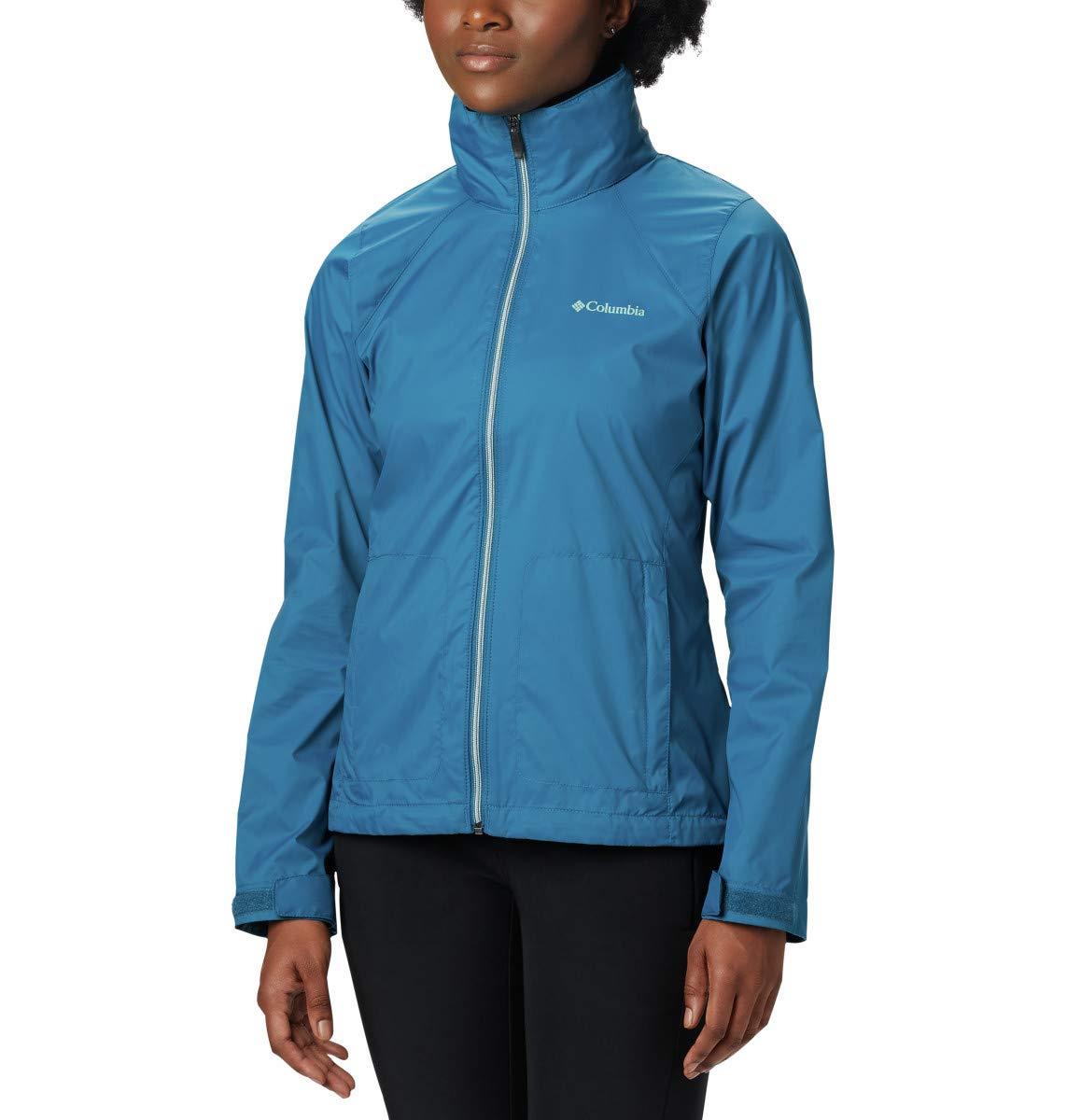 Columbia Women's Plus Size Switchback III Adjustable Waterproof Rain Jacket, Lagoon, 2X by Columbia