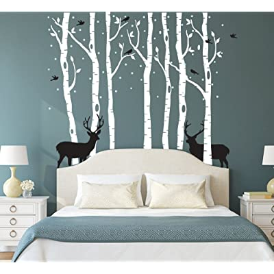 "Fymural Forest and Deers Tree Wall Stickers Art Mural Wallpaper for Bedroom Kid Baby Nursery Vinyl Removable DIY Decals 118.1x102.4"",White+Black: Arts, Crafts & Sewing"