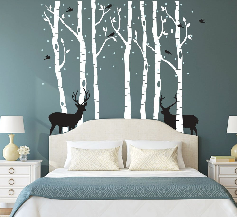 Fymural Forest and Deers Tree Wall Stickers Art Mural Wallpaper for Bedroom Kid Baby Nursery Vinyl Removable DIY Decals 118.1x102.4,White+Black by Fymural